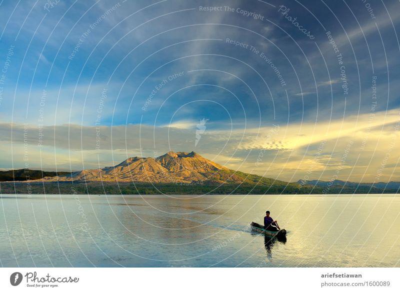 Paddeln eines Kanus im Sonnenaufgang Mensch maskulin Junger Mann Jugendliche Erwachsene Männlicher Senior 1 18-30 Jahre 30-45 Jahre Umwelt Natur Landschaft