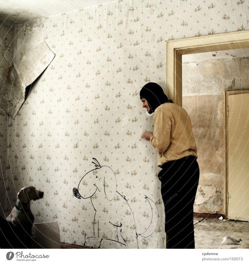 [Weimar09] Wir verstehen uns! Mensch Mann sprechen Hund Raum lernen Kommunizieren Verfall Gemälde Partnerschaft Säugetier Comic Zimmerecke Örtlichkeit Zeichnung Sturmhaube