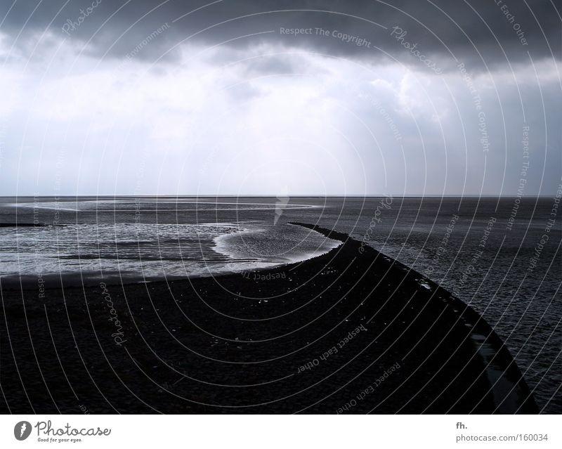 Tag bei Nacht Himmel Wasser Strand Meer Wolken ruhig Einsamkeit Ferne kalt dunkel Freiheit Herbst Sand Küste Stimmung Wellen
