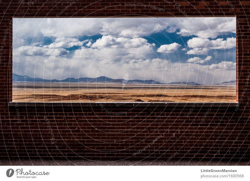 Der Rahmen Abenteuer Ferne Freiheit Sonne Umwelt Natur Landschaft Erde Himmel Wolken Sonnenlicht Schönes Wetter Feld Berge u. Gebirge Wüste Mauer Wand Stein
