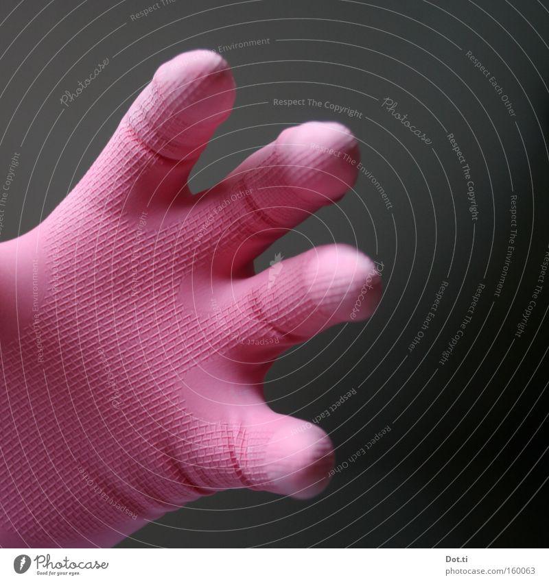 Viervingervaultier Hand Farbe rosa Finger Schutz Sauberkeit Reinigen Falte bizarr seltsam greifen Handschuhe Anschnitt Bildausschnitt Gummi gekrümmt