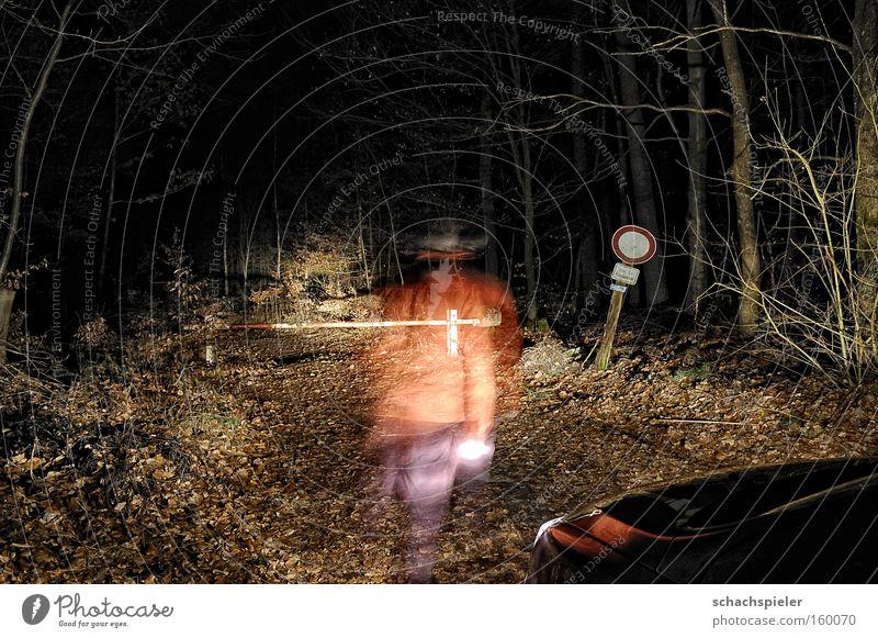 jetzt aber schnell ... Nacht Wald Wege & Pfade Fußweg Schilder & Markierungen Schranke Geschwindigkeit dringend KFZ Licht erleuchten Geister u. Gespenster