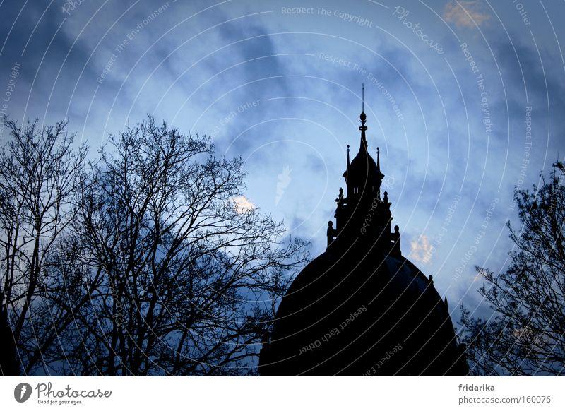rathusl Baum Wolken dunkel kalt Regen Kraft Wind Wetter Macht Dach gruselig historisch Hannover Sehenswürdigkeit Kuppeldach Rathaus