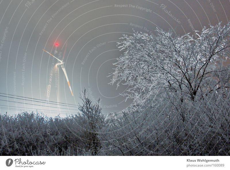 Rauhnacht Zauber Baum rot Winter Schnee Beleuchtung Lampe Arbeit & Erwerbstätigkeit Sträucher Baustelle Frost Windkraftanlage Handel Kran Raureif unruhig