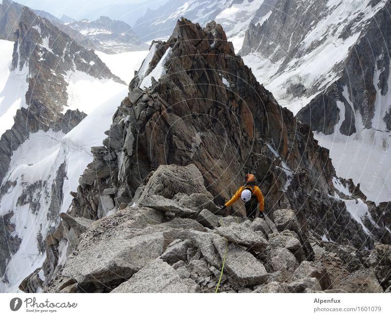 Schuppig Berge u. Gebirge wandern Klettern Bergsteigen Felsen Alpen Mont Blanc Schneebedeckte Gipfel kämpfen oben sportlich Willensstärke Mut Tatkraft