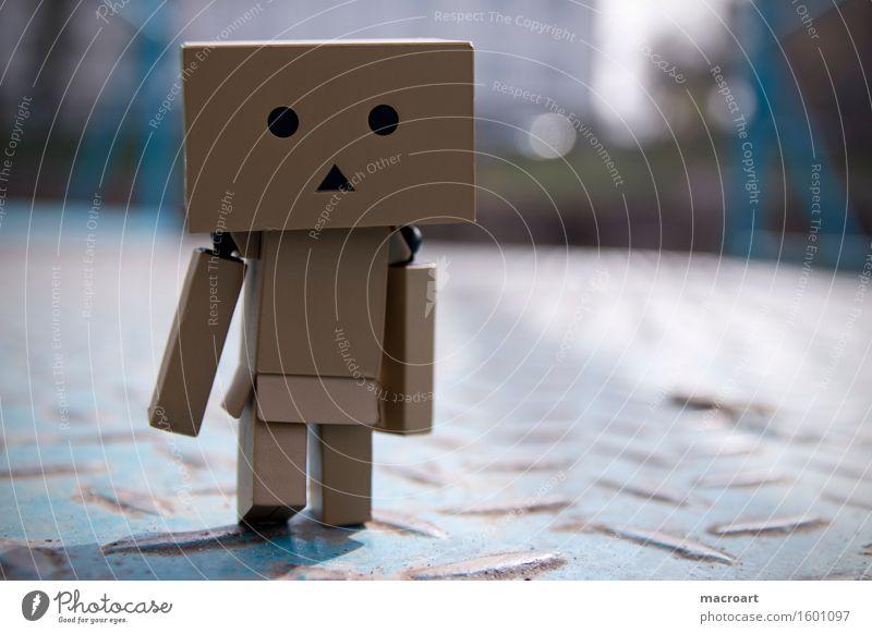 Langer Weg Roboter Karton männchen Figur Spielfigur Auge Gesicht Natur Metall Wege & Pfade Blech Rost blau laufen natürlich danboo danboard klein Miniatur