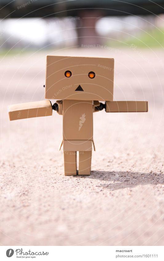 kleiner Roboter Figur männchen Spielfigur Gleichgewicht balanceakt Linie Wege & Pfade Straße Leben Auge leuchten Bewegung Miniatur