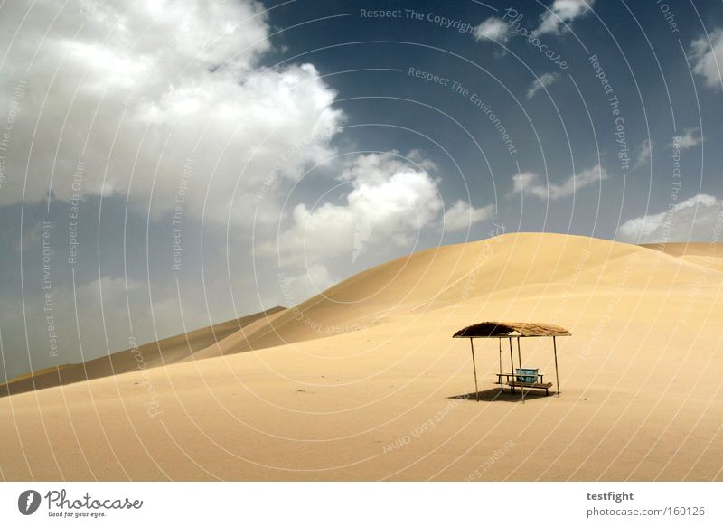 sand schön Himmel Ferien & Urlaub & Reisen ruhig Wolken Einsamkeit Wärme Sand Umwelt Abenteuer Klima Wüste Schutz Hütte Düne Fernweh