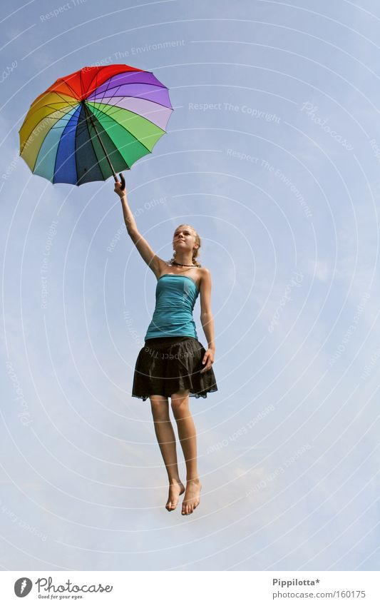abgehoben mehrfarbig Himmel aufsteigen Regenschirm Schweben Luft unmöglich Freude fliegen
