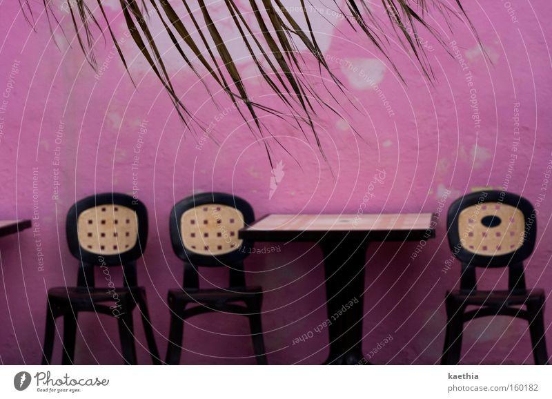 wanna eat a strawberry? alt Sommer Ferien & Urlaub & Reisen Blatt Ferne Wand rosa Tisch Stuhl Reisefotografie Kitsch Gastronomie Restaurant Café verfallen