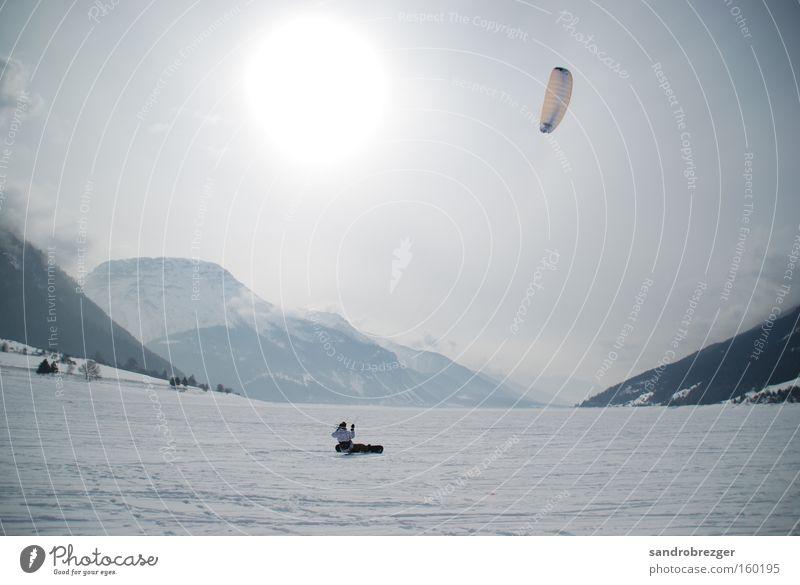 live your life and kite! Kiting Berge u. Gebirge Reschensee Reschnpass See gefroren Winter weiß Wind Snowboard Snowboarding Wintersport Sport Spielen Schnee