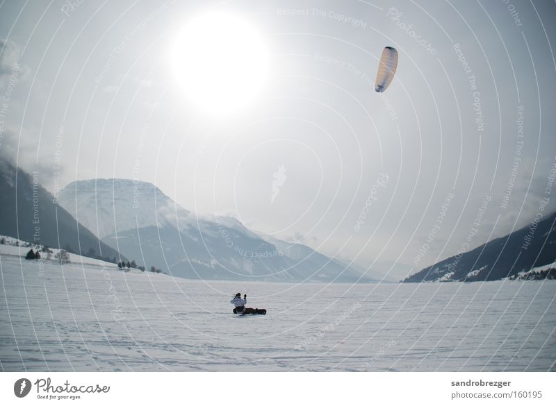 live your life and kite! weiß Winter Berge u. Gebirge Schnee Sport Spielen See Wind Geschwindigkeit hoch gefroren Schneelandschaft Snowboard Lenkdrachen