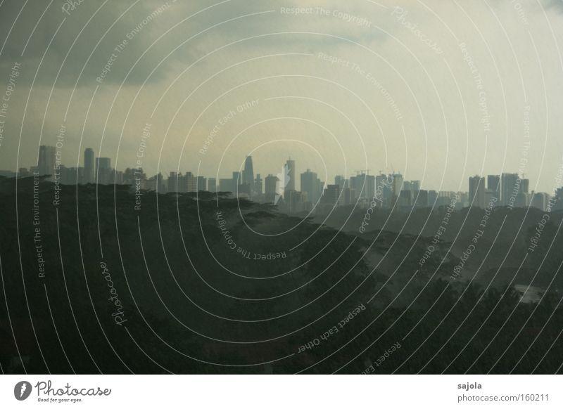 heftige regenschauer Landschaft Himmel Wolken Gewitterwolken schlechtes Wetter Unwetter Regen Baum Singapore Asien Stadt Hauptstadt Stadtzentrum Skyline