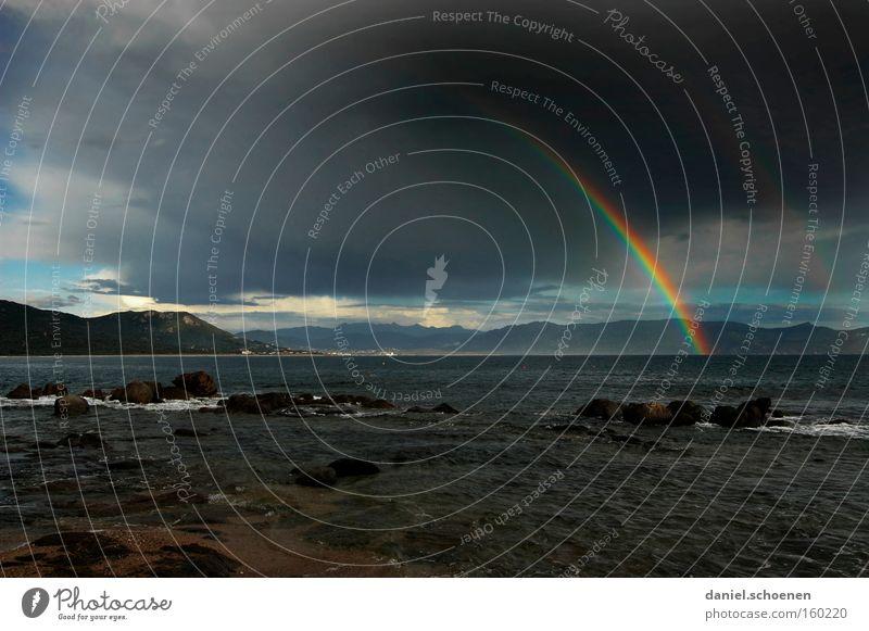 Korsika Regenbogen Insel Licht Gewitter Sonne Sonnenstrahlen Meer Wasser Ferien & Urlaub & Reisen Reisefotografie Mittelmeer Himmel Strand Küste