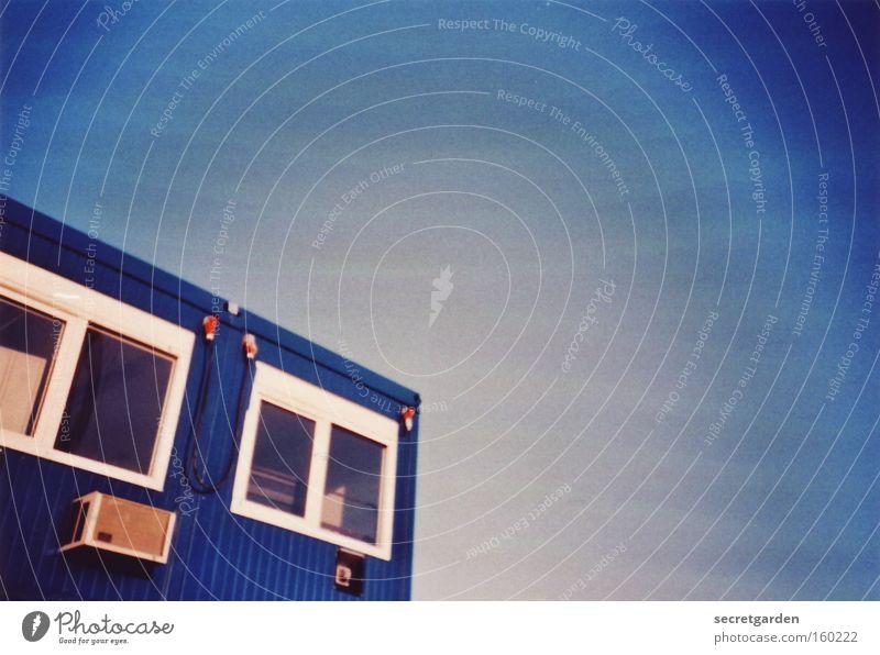 [HB 09.1] bremer baukultur bauen Baustelle Container Haus blau Lomografie Fenster Blick Aussicht Himmel Büro Arbeit & Erwerbstätigkeit Vogelperspektive