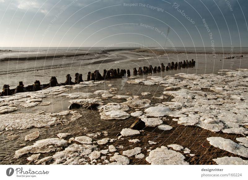 Tausend Watt Meer Nordsee Wattenmeer Winter Buhne Holzpfahl Schlick Sand Ebbe Gezeiten Flut Wassermassen Eis Eisscholle kalt Fahrwasser gestrandet Grundbesitz