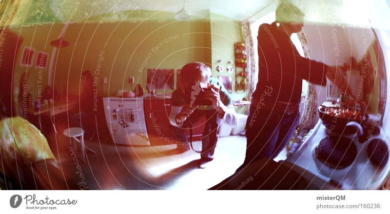 Groovy Studentenbude. modern verrückt Perspektive Häusliches Leben Küche Kochen & Garen & Backen Student Handwerk Generation Mensch Wohngemeinschaft Tagetes Studentenfutter Studentenlunch