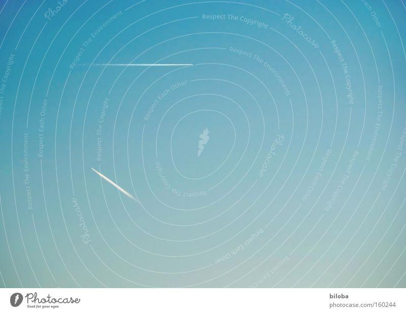 Himmlischer Minimalismus Himmel fliegen Flugzeug Kondensstreifen Abgas Kohlendioxid Streifen Umweltschutz Hintergrundbild Strukturen & Formen Luftverkehr