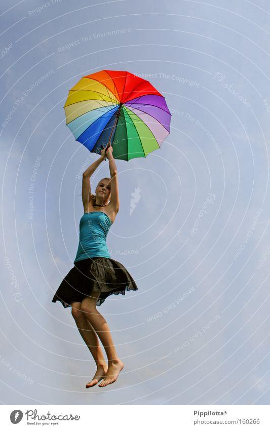 glück. Himmel Freude Gefühle Luft fliegen Regenschirm mehrfarbig Schweben Ausgelassenheit Wetterschutz unmöglich
