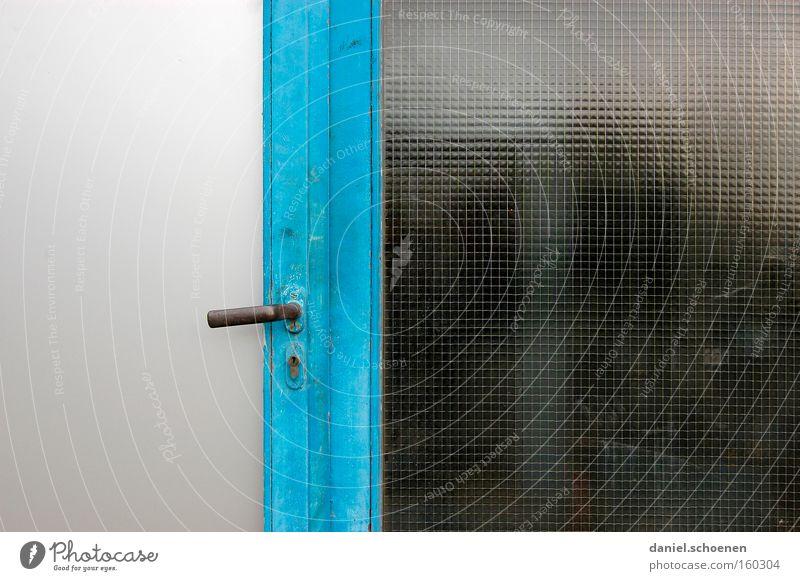 Tür Eingang Griff Strukturen & Formen Architektur Glas blau Detailaufnahme Eingangstür
