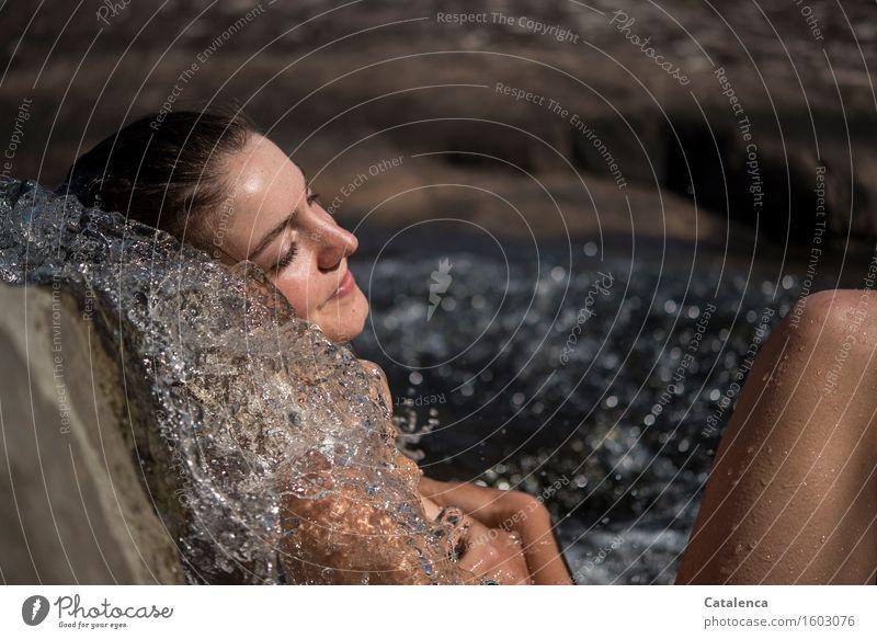 Remix: Wasser II Junge Frau Jugendliche Haut Gesicht 18-30 Jahre Erwachsene Natur Sommer Schönes Wetter Wärme Bach Wasserfall Schwimmen & Baden Erholung