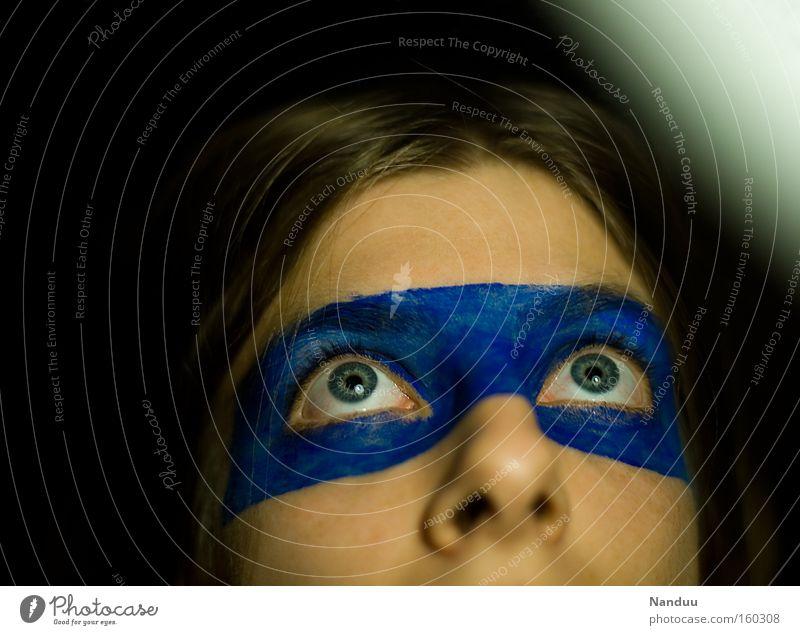 oooohhh Frau Mensch blau Auge klein Hoffnung niedlich Vertrauen Schminke Treue unschuldig betteln Augenbinde kulleräugig