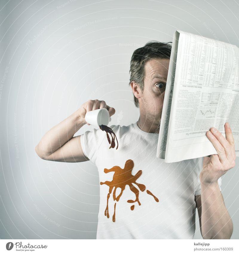 finanzkrise Kaffee lesen trinken Zeitung Information Gastronomie Dorf Medien Printmedien Wirtschaft Fleck Aktien Börse Kapitalwirtschaft Espresso aktuell