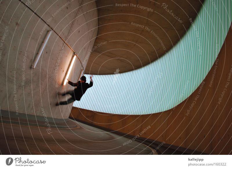 wallstreet Mann Mensch springen Wand Fenster Dynamik Kurve Parkhaus aufwärts Grafik u. Illustration Strukturen & Formen Design Licht gefährlich Stadt