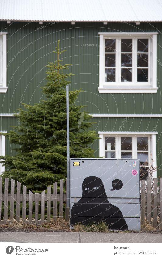 tanne. Energiewirtschaft Kunst Pflanze Baum Tanne Garten Island Dorf Haus Einfamilienhaus Bauwerk Gebäude Mauer Wand Fassade Fenster Gartenzaun Wege & Pfade