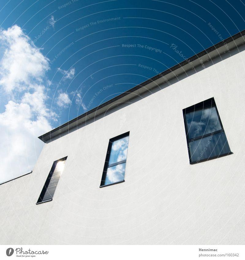 The White House. Himmel weiß blau ruhig Haus Wolken Wand Fenster Linie hell Architektur Glas Design Fassade modern