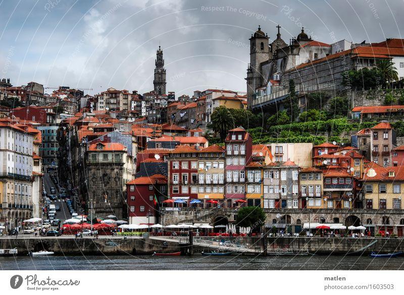 Porto Stadt grün Sommer weiß rot Haus Fenster gelb Straße Architektur Wand Gebäude Mauer grau braun orange