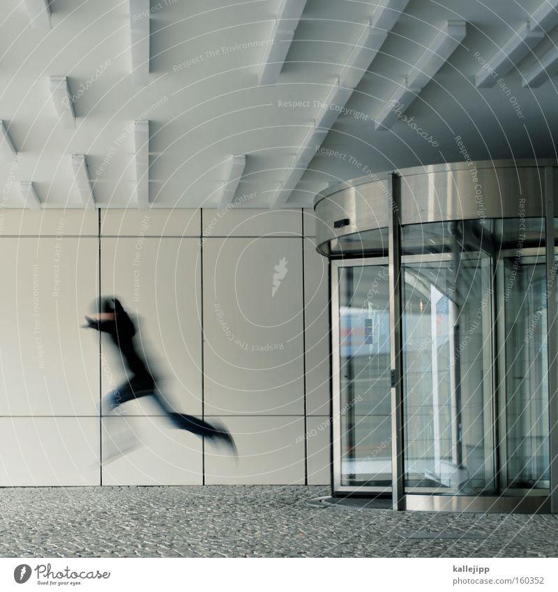 wochenende Mensch springen Business Arbeit & Erwerbstätigkeit Tür Unternehmen Dienstleistungsgewerbe Eingang Termin & Datum Mitarbeiter Agentur Feierabend