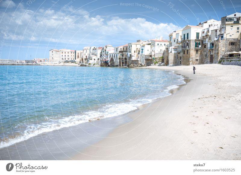 Meerblick Ferien & Urlaub & Reisen blau Meer Erholung Strand Wärme Küste Italien Sizilien Kleinstadt Hafenstadt Stadtrand Cefalú