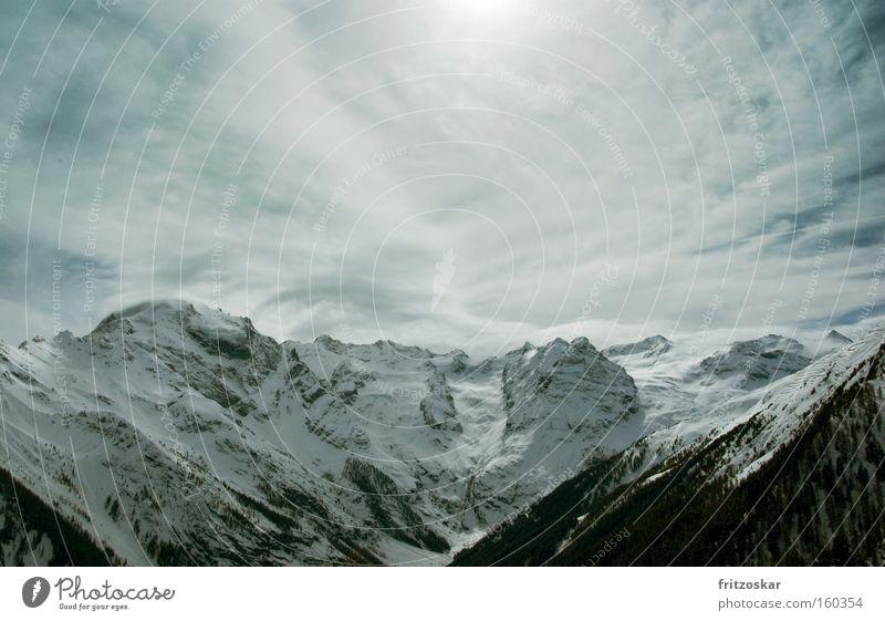 Bergkette Winter Wolken Wald Schnee Berge u. Gebirge Alpen Bergkette Stilfserjoch