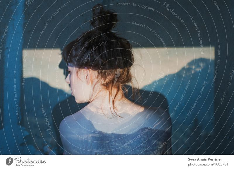 . feminin Junge Frau Jugendliche Erwachsene Rücken 1 Mensch 18-30 Jahre Natur Alpen Berge u. Gebirge Gipfel Mauer Wand Dutt Dia-Projektor Landschaft Wald