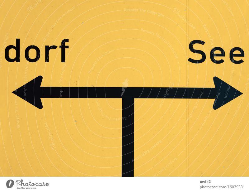 Übersichtlich Verkehr Wege & Pfade Verkehrszeichen Verkehrsschild Schriftzeichen Pfeil Wegweiser einfach gelb schwarz richtungweisend Richtung Abzweigung