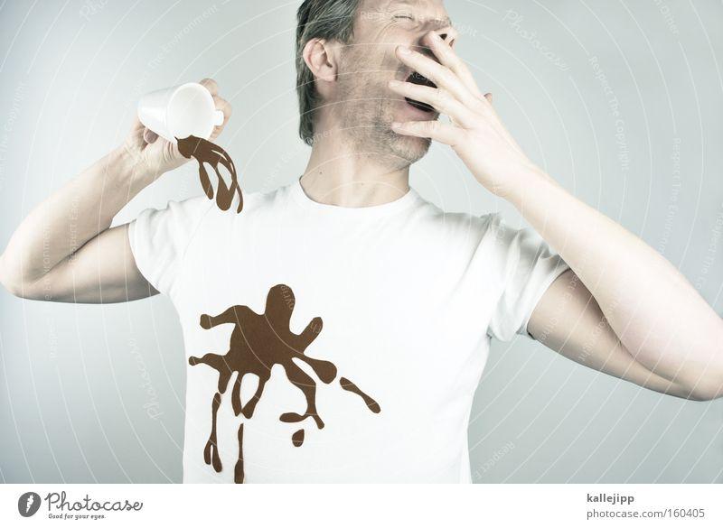 ausgeschlafen Kaffee Morgen Müdigkeit gähnen Fleck Tasse Witz Comic dreckig Waschmittel trinken aufwachen Desaster unaufmerksam Traurigkeit