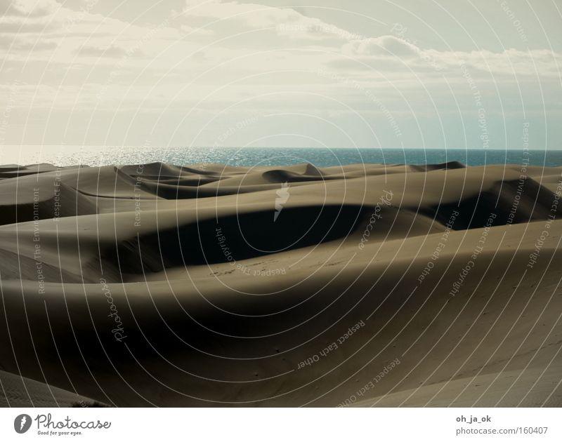 so weit das auge reicht. Sand Strand Düne Gran Canaria Ferien & Urlaub & Reisen Meer Wüste Strukturen & Formen Einsamkeit Küste auf und ab