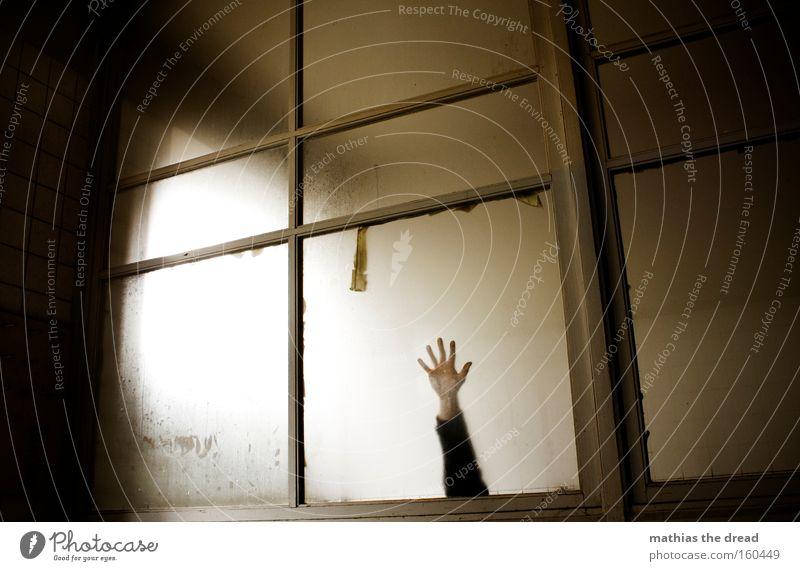 HILFE ICH BIN EIN STAR ... Hand dunkel hell Raum Angst Architektur Arme Glas trist bedrohlich fangen verfallen Fensterscheibe Panik greifen