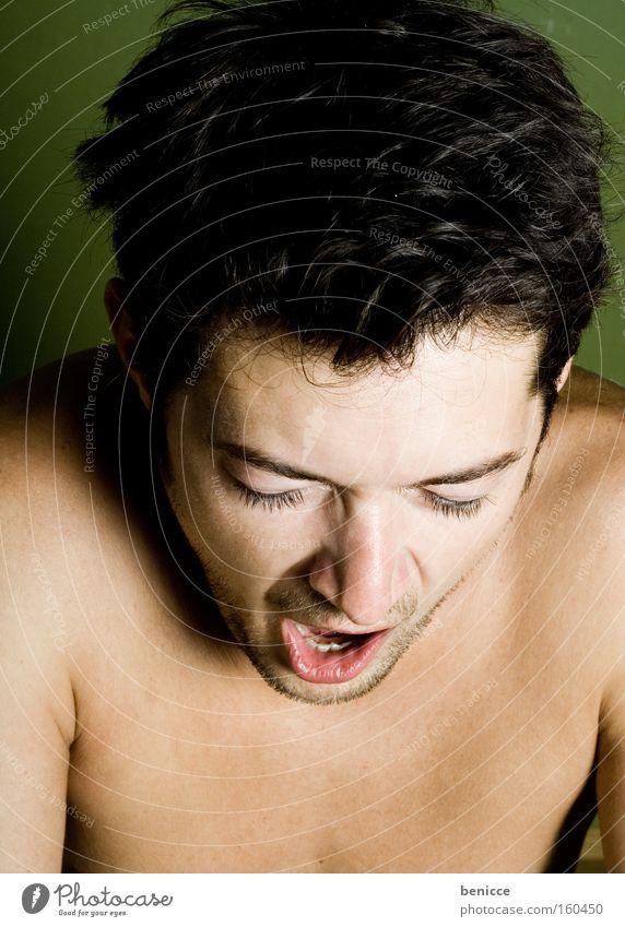 Morgenmuffel Mann Müdigkeit verschlafen gähnen Schlafzimmer Bett grün Student Erschöpfung Haushalt