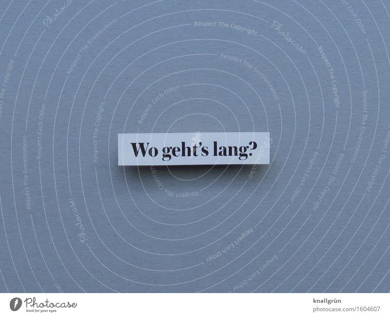 Wo geht's lang? Schriftzeichen Schilder & Markierungen Kommunizieren eckig grau schwarz weiß Gefühle Tatkraft Neugier Interesse Beratung Erfahrung Erwartung