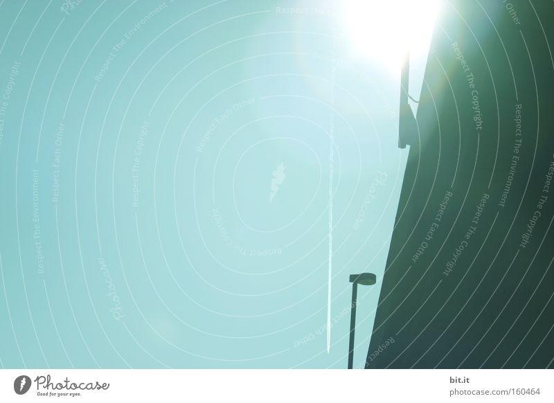 MONTAG-MORGEN-SONNE Licht Hoffnung Optimismus Zukunft Sonne Laterne Brücke Architektur Stimmung Sonnenaufgang Himmel blau glänzend modern Hintergrundbild Basel