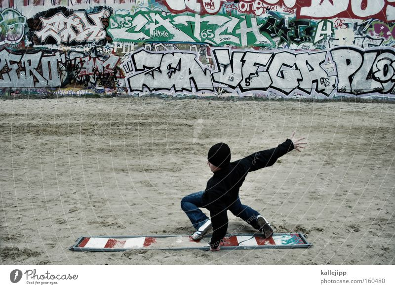 flatratesurfen Stadt Graffiti Mauer Schriftzeichen Kommunizieren Telekommunikation Schriftstück Holzbrett Surfen Surfer Freestyle Funsport