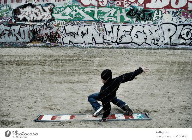 flatratesurfen Surfer Freestyle Mauer Graffiti Stadt Kommunizieren Telekommunikation Schriftzeichen Schriftstück Funsport board Holzbrett Abwrackprämie Surfen