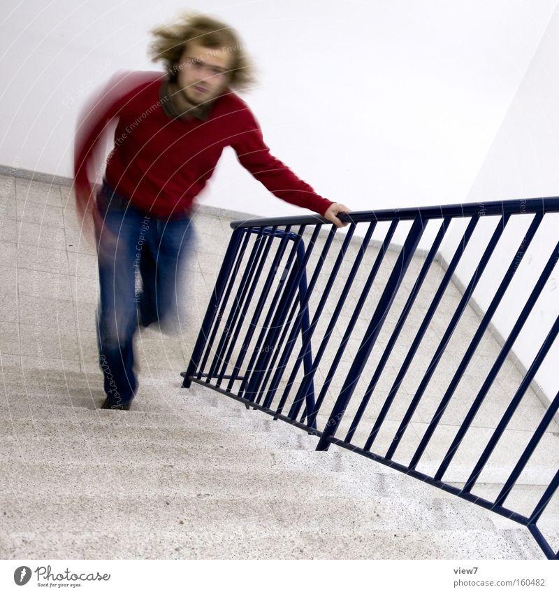 beeil dich! Mann Zeit laufen Treppe Geschwindigkeit Laufsport Konzentration Rennsport Treppenhaus Sportveranstaltung Termin & Datum Konkurrenz spät Eile