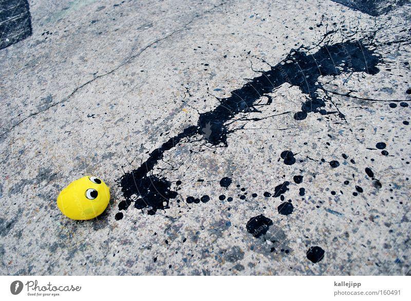 kotzbrocken Comic Figur gelb spucken schwarz grau Übelkeit Auge Luftballon Fleck Tropfen Teer Straße Straßenkunst Freude reiern Erbrechen