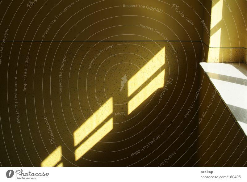Lichtleck Sonne Freude dunkel Fenster hell Linie Platz Grafik u. Illustration Konzentration diagonal Flur graphisch Verlauf Licht