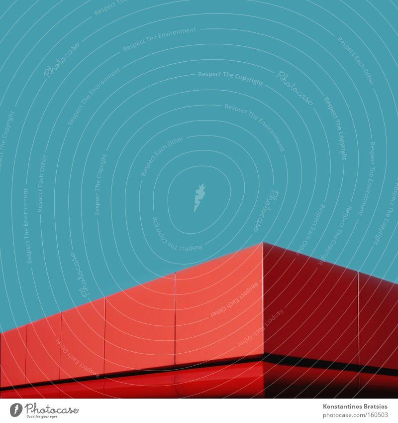 RED ^ Farbfoto Außenaufnahme Detailaufnahme Menschenleer Textfreiraum oben Hintergrund neutral Tag Unternehmen Energiewirtschaft Tankstelle Dach Verkehr Metall