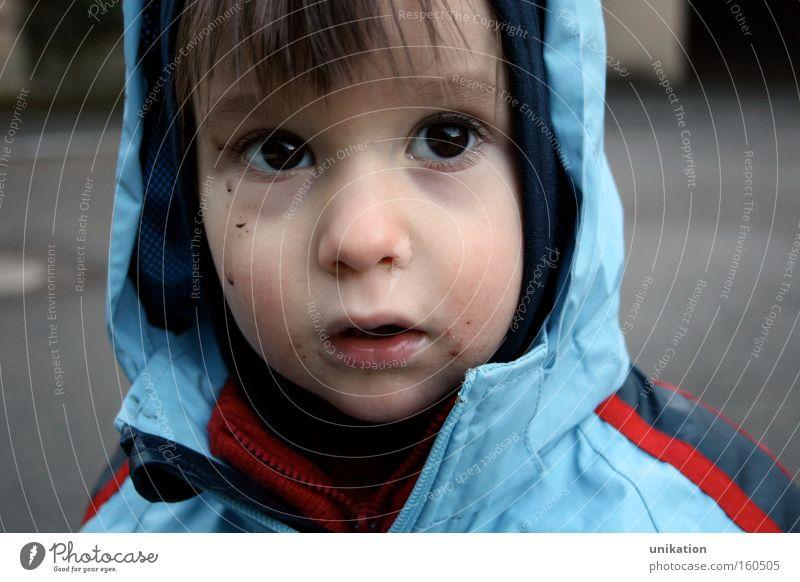 Dreckspatz Gesicht Spielen Kinderspiel Kleinkind Junge Kindheit Auge 1 Mensch 1-3 Jahre Herbst Wetter schlechtes Wetter Regen Jacke Mütze Traurigkeit dreckig
