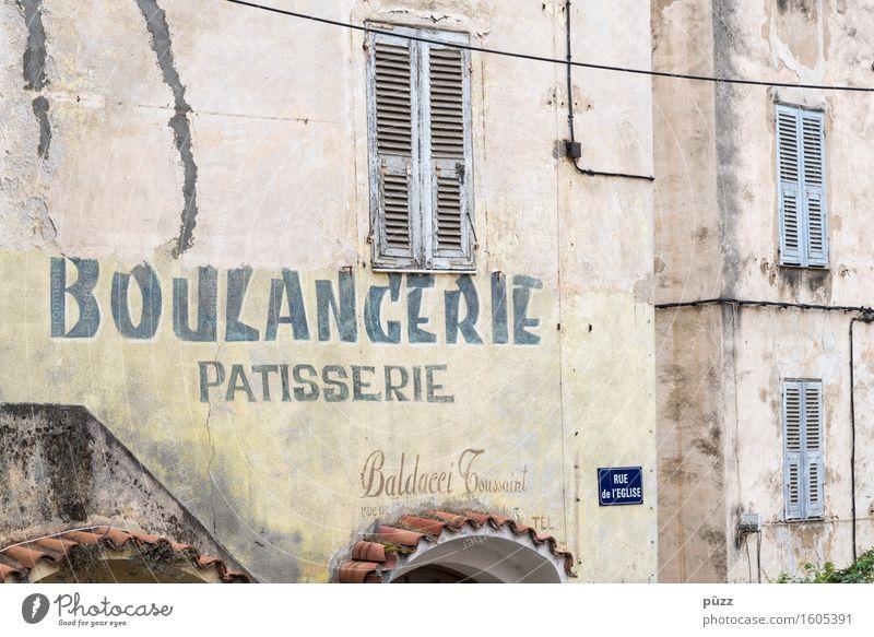 Boulangerie Ferien & Urlaub & Reisen alt Haus gelb Wand Essen Lebensmittel Ernährung Schriftzeichen kaufen Zeichen Dorf verfallen Frankreich Ladengeschäft Brot